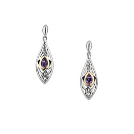 Sterling Silver + 10k Gold Amethyst Elven Post Earrings