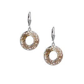 Sterling Silver + 22k Gilded Window to the Soul Round Leverback Earrings