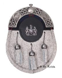 Sporran - Natural Bovine Antique Custom Badge Tartan Highlight Engraved Back