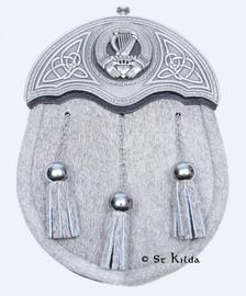 Sporran - Natural Bovine Chrome Pewter Irish Harp Crest