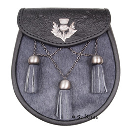 Sporran - Grey Bovine Antique Cross Chains