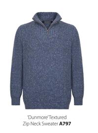 Dunmore Textured Zip Neck Sweater