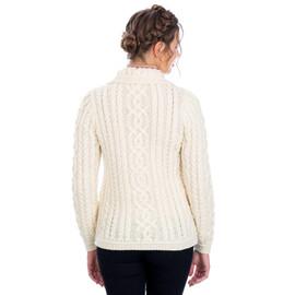 100% Merino Wool Aran Celtic Knit Women Cardigan with Pockets