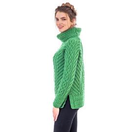Fisherman Wool Funnel Neck Sweater