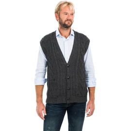 Mens Aran Sleeveless Cardigan