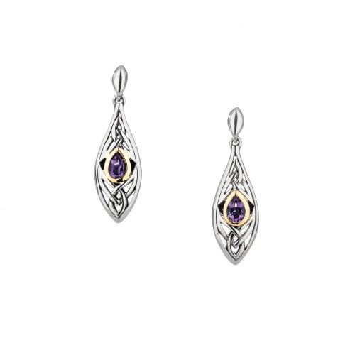Sterling Silver + 10k Gold Amethyst Elven Post Earrings