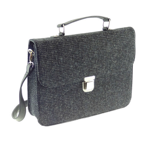 Harris Tweed 'Deveron' Work Bag in Black and White Fleck