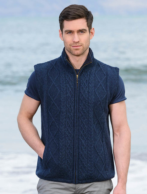 Aran Blue Lined Body Warmer