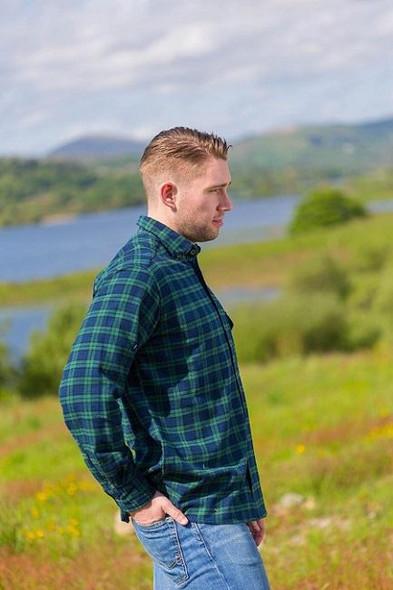Tartan Flannel Collar Men's Shirts