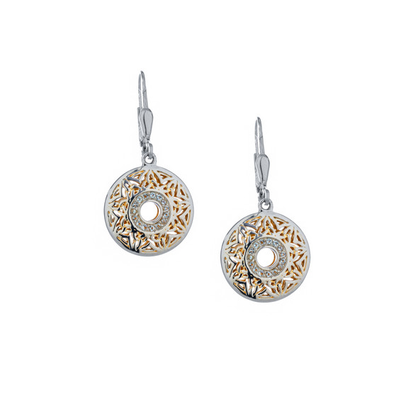 Sterling Silver + 22k Gilded Window To The Soul White Topaz Round Leverback Earrings