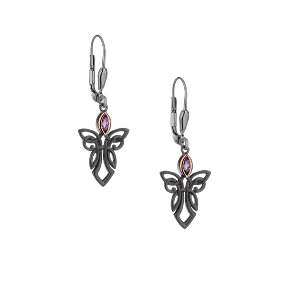 Sterling Silver Ruthenium + 10k Gold Rose Amethyst Guardian Angel Leverback Earrings