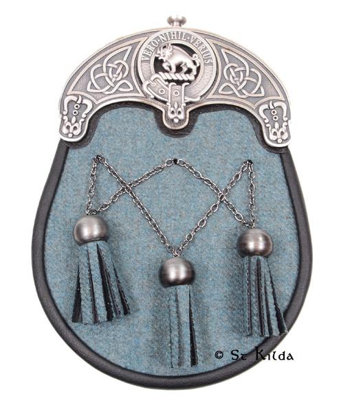 Sporran - Lovat Blue Tweed Antique Cross Chains Weir Crest