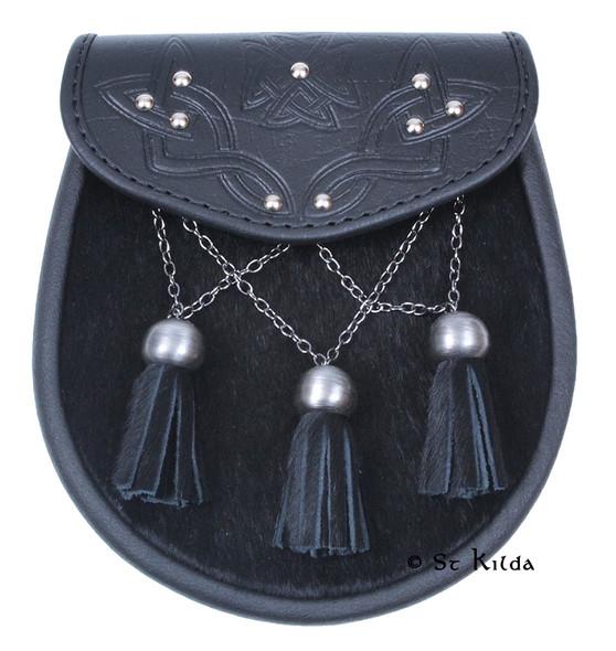 Sporran - Black Bovine Antique Cross Chains