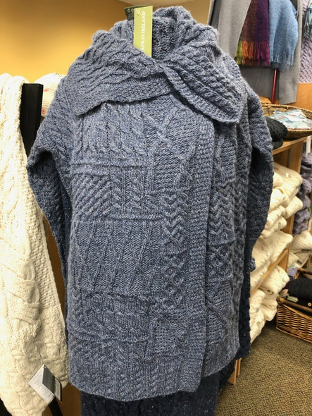 Beautiful merino wool sweater made in Ireland. 3/4 length.  Available in denim blue only.