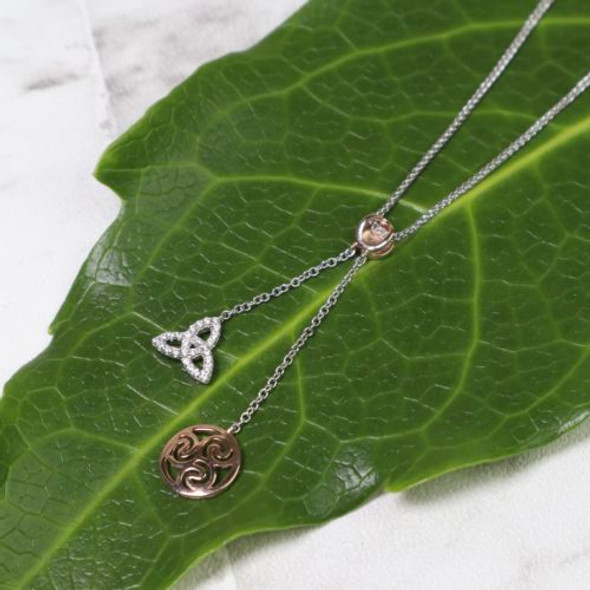 Sterling And Rose Gold Spiral Pendant