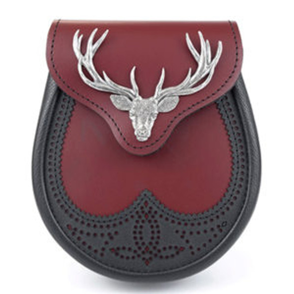 Blood Black Leather Stag Sporran