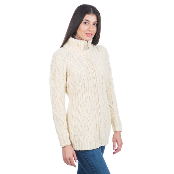 Cable Cardigan With Zipper