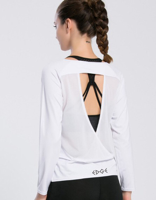 EDGE Active: white long sleeve workout top