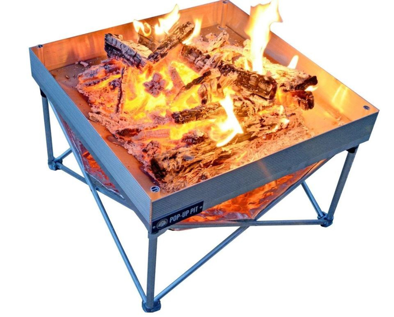Outdoor Pop Up Fire Pit Heat Shield Combo Grey Ramsey Outdoor