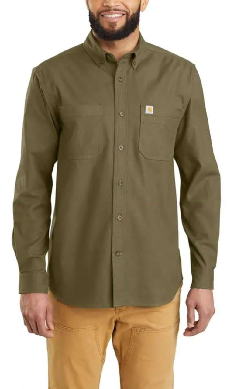 Carhartt Mens Rugged Flex Hamilton Solid Long Sleeve Shirt
