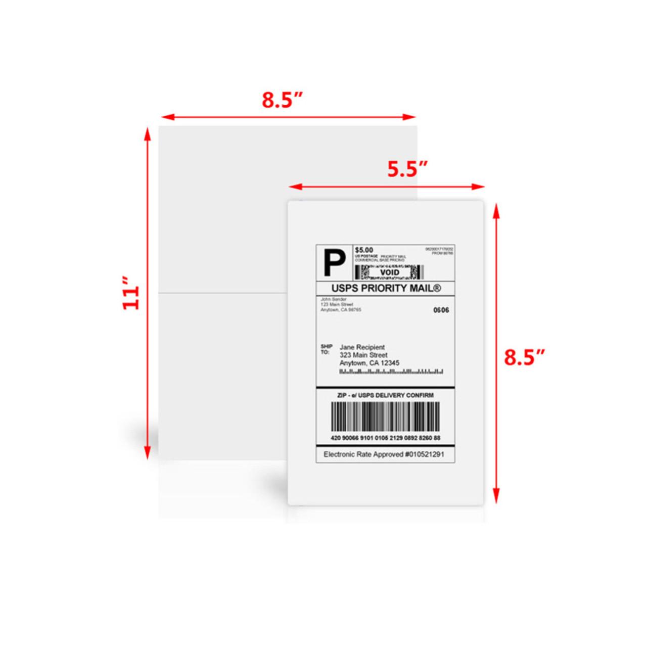 """Best Print - Half Sheet Labels - 8-1/2"""" x 5-1/2"""" - 2 Labels Per Sheet"""