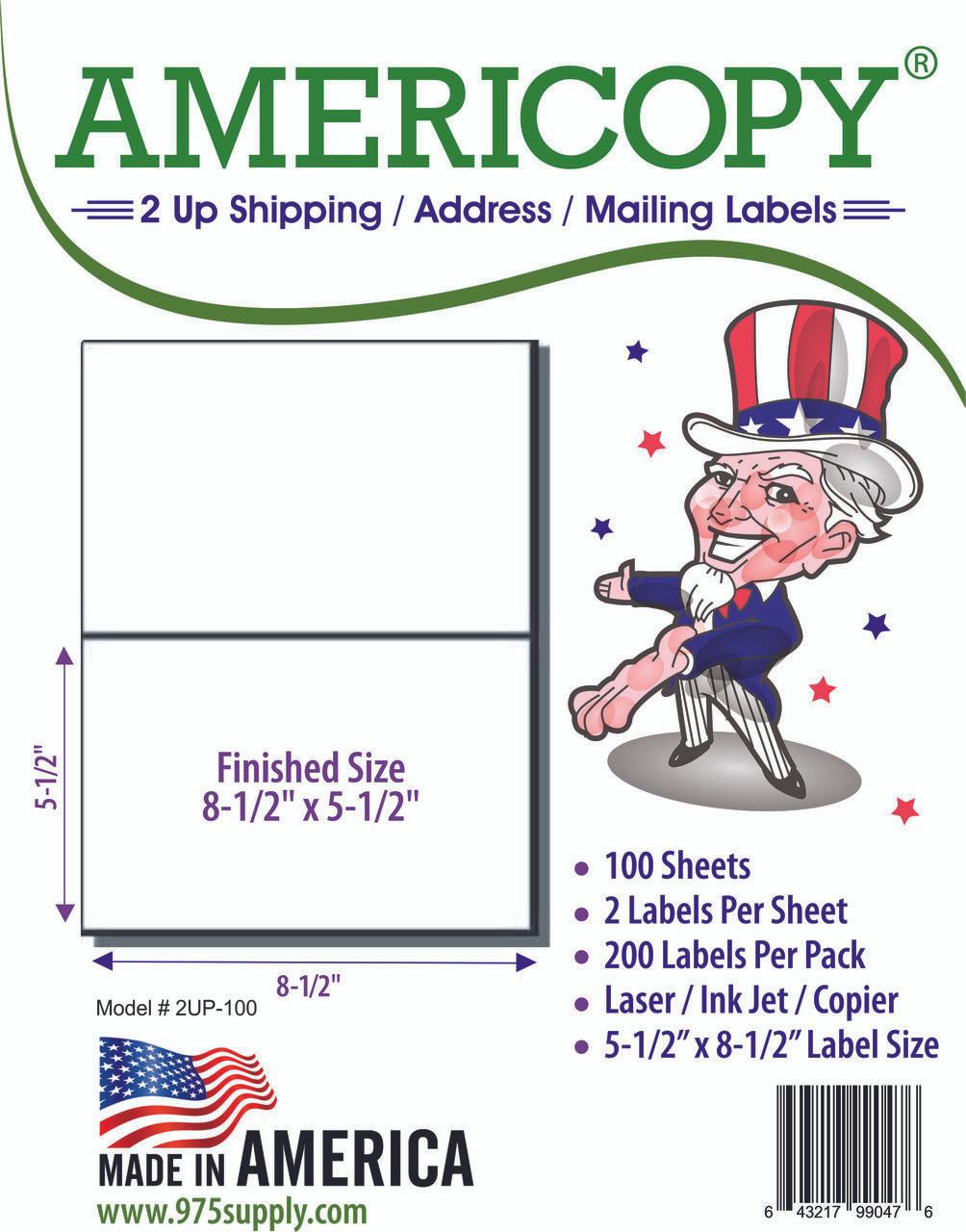 americopy labels half sheet labels 8 1 2 x 5 1 2 2 labels