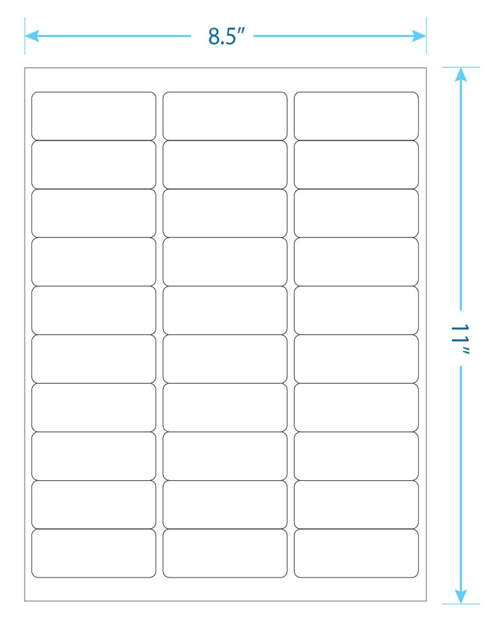 """975 Supply Brand Labels - 30 Up Labels - 1"""" x 2-5/8"""" - 30 Labels Per Sheet - 100 Sheets Per Pack"""