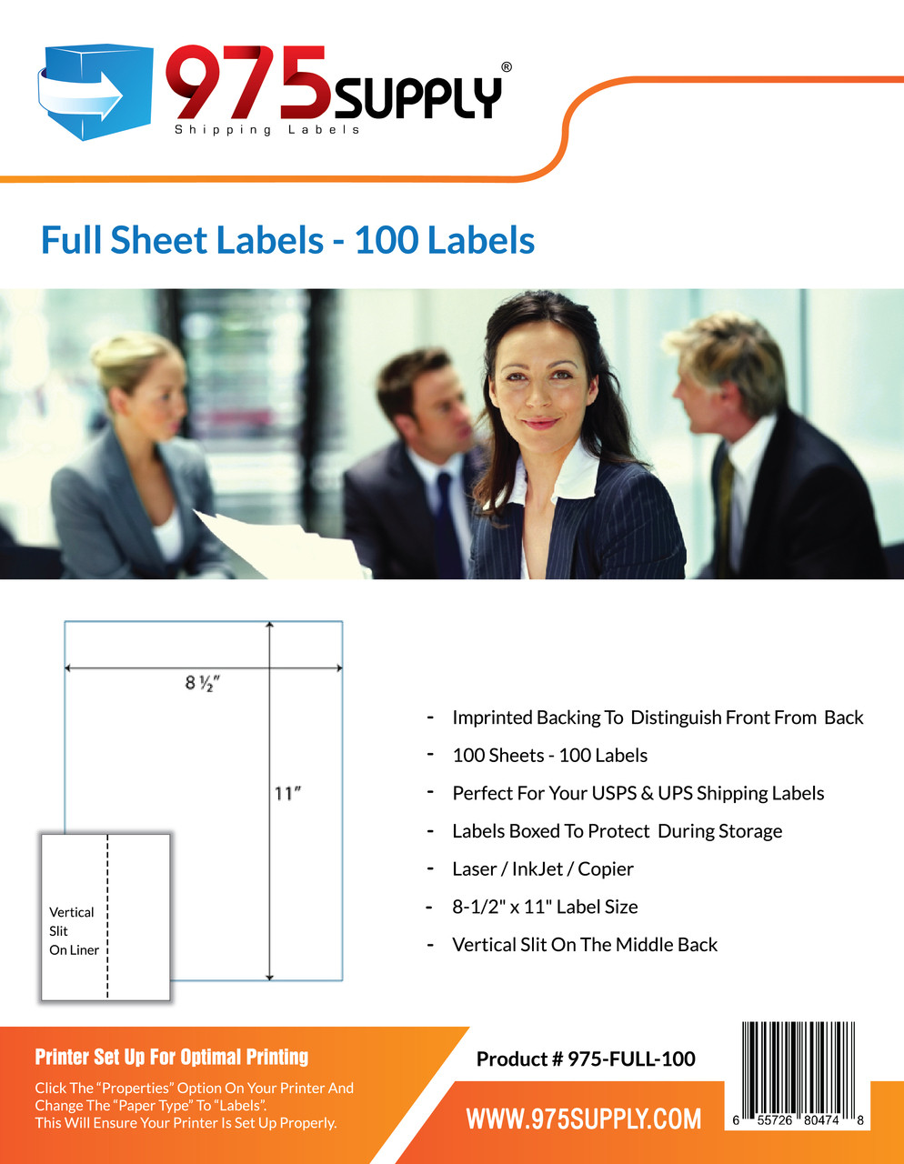 "975 Supply Brand Labels - Full Sheet Labels - 8-1/2"" x 11"" - 1 Label Per Sheet"