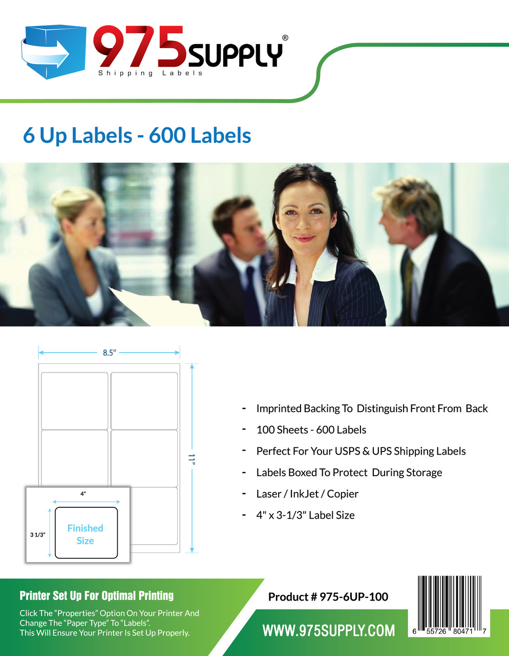 "975 Supply Brand Labels - 6 Up Labels - 4"" x 3-1/3"" - 6 Labels Per Sheet"