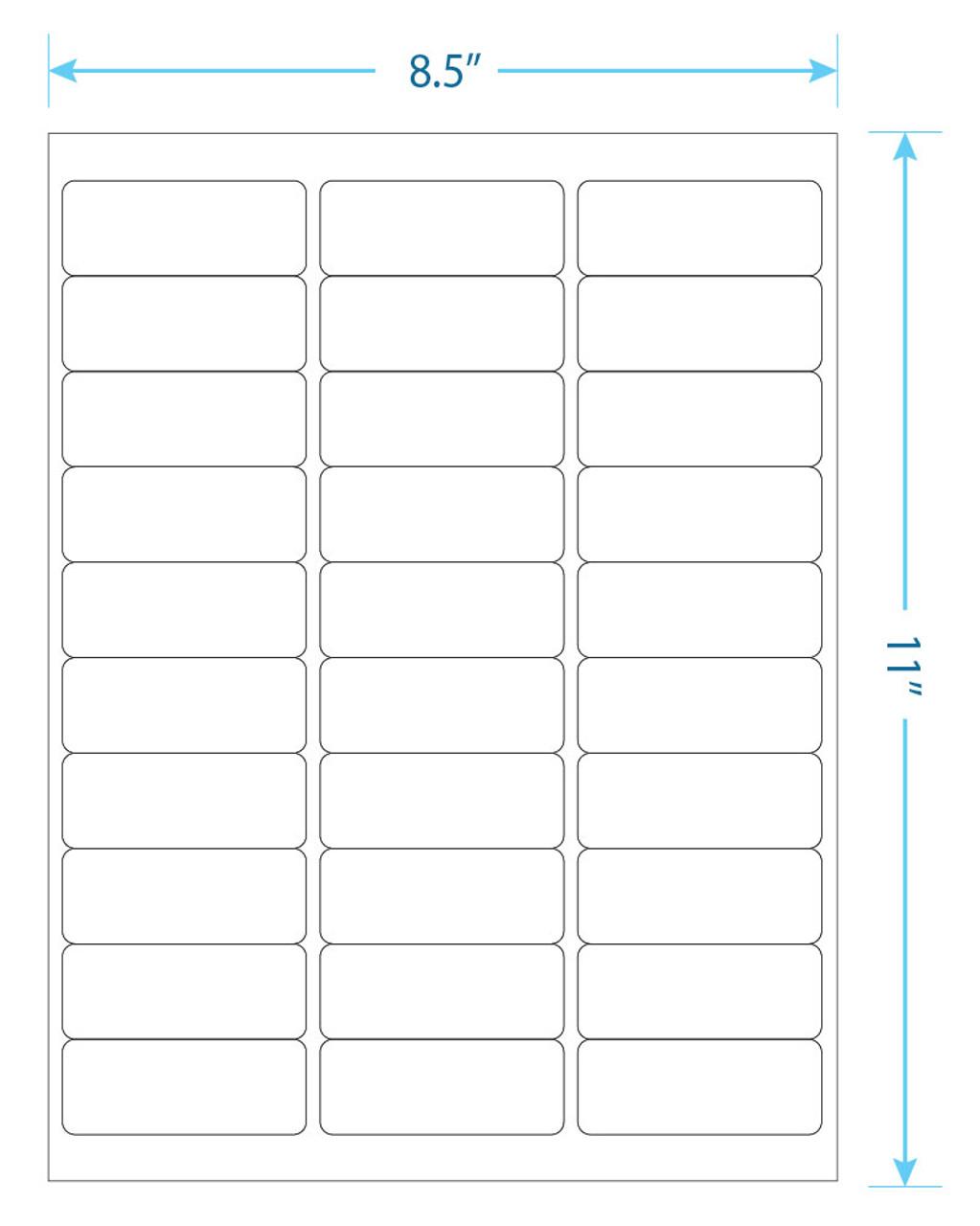 """YBL Labels - 30 Up  Labels - 1"""" x 2-5/8"""" - 30 Labels Per Sheet"""
