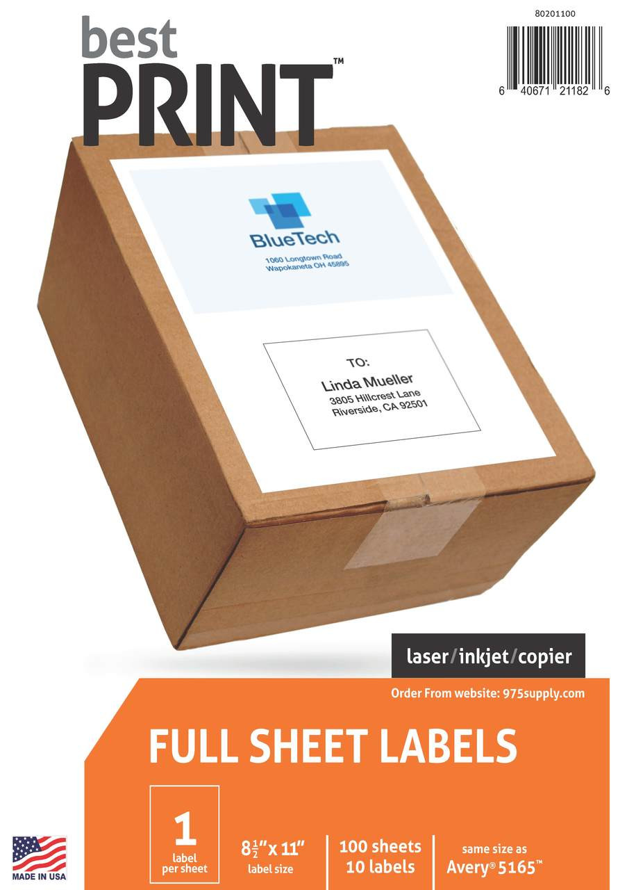 Business Source Full Sheet Copier Labels Pack of 100