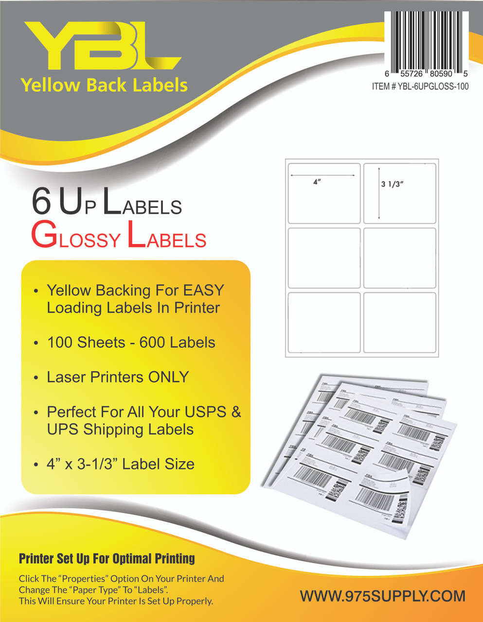 "YBL GLOSSY Labels - 6 Up  Labels - 4"" x 3-1/3"" - 6 Labels Per Sheet"