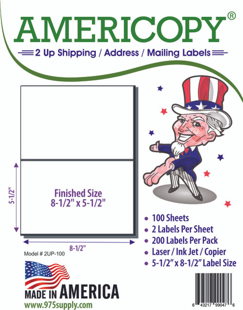 "Americopy Labels - Half Sheet Labels - 8-1/2"" x 5-1/2"" - 2 Labels Per Sheet"