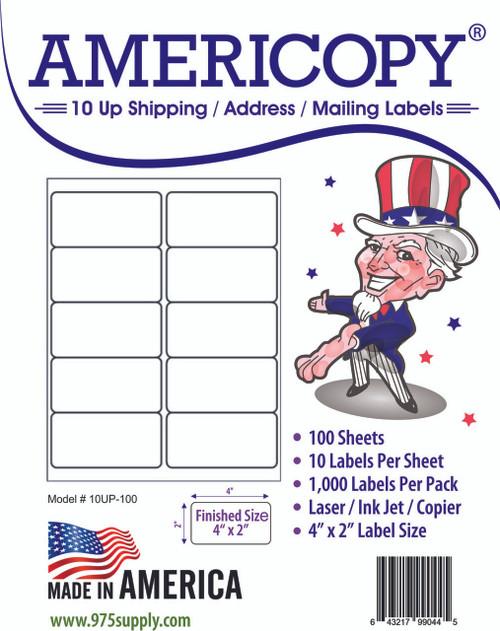 americopy labels 10 up labels 4 x 2 10 labels per sheet