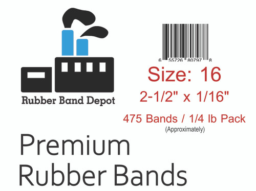 """#16 Rubber Bands - 2-1/2"""" x 1/16"""""""