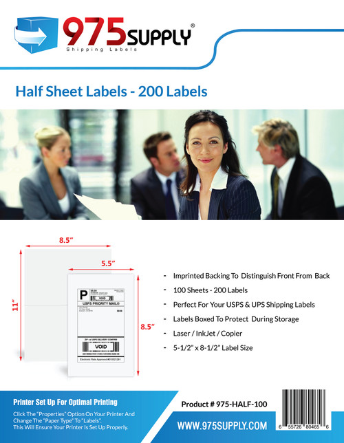 "975 Supply Brand Labels - Half Sheet Labels - 8-1/2"" x 5-1/2"" - 2 Labels Per Sheet"