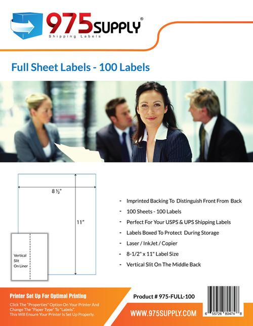 "975 Supply Brand Labels - Full Sheet Labels - 8-1/2"" x 11"" - 1 Label Per Sheet"