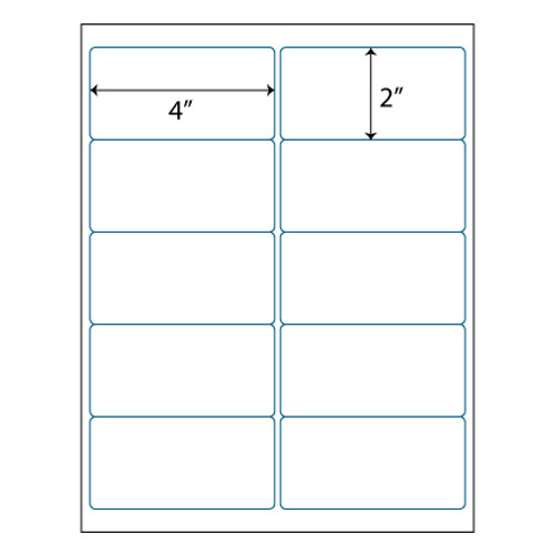 "Maco Brand Labels - 10 Up Labels - 4"" x 2"" - 10 Labels Per Sheet"