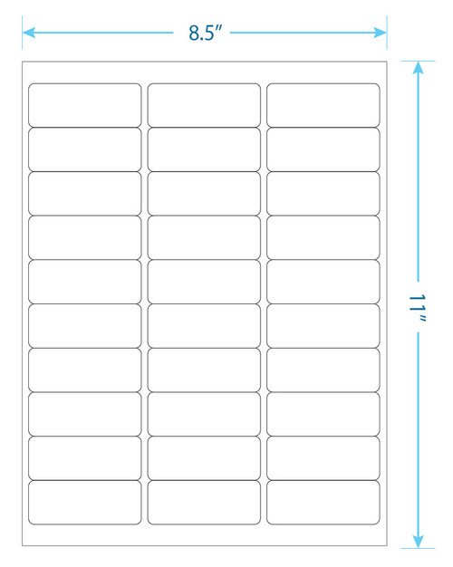 "Best Print - 30 Up  Labels - 1"" x 2-5/8"" - 30 Labels Per Sheet"