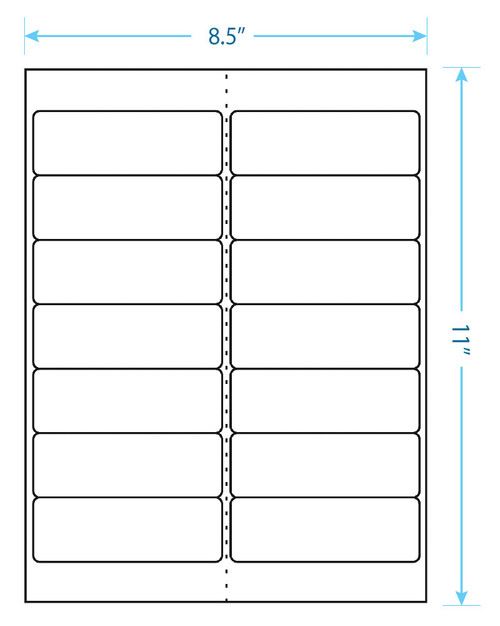 "Maco Brand Labels - 14 Up Labels - 1-1/3"" x 4"" - 14 Labels Per Sheet"