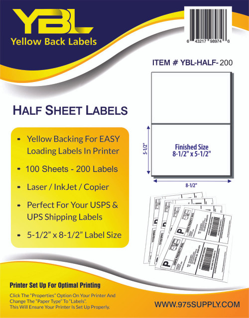 "YBL Labels - Half Sheet Labels - 8-1/2"" x 5-1/2"" - 2 Labels Per Sheet"