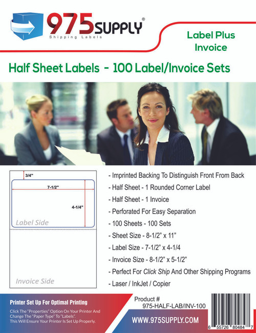 """975 Supply Brand Labels - LABEL WITH INVOICE Half Sheet Labels - Label Size 7-1/2"""" x 4-1/4"""" - 1 Label & 1 Invoice Per Sheet"""