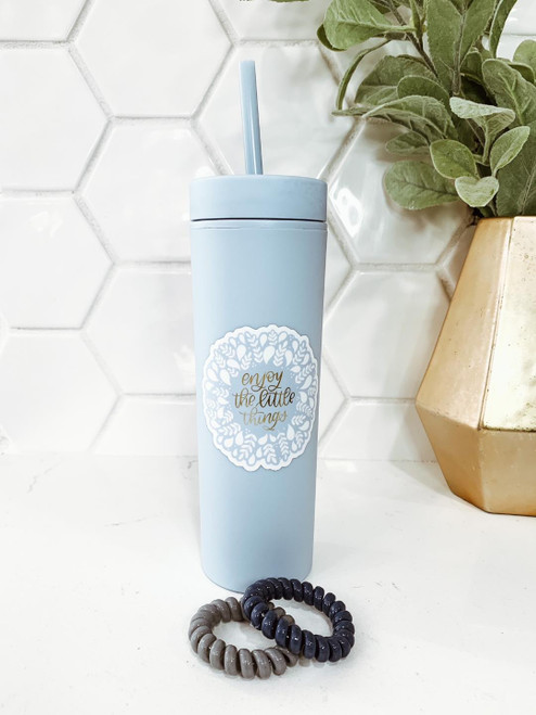'Enjoy The Little Things' 16 oz. Tumbler and Hair Ties Set