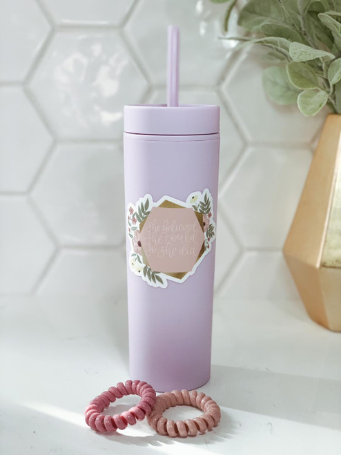 'She Believed' 16oz. Tumbler and Hair Ties Set