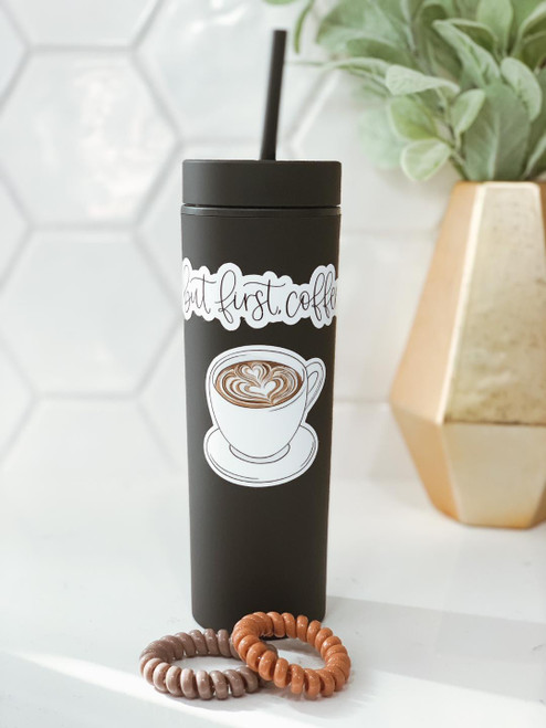 'But First Coffee' 16 oz. Tumbler and Hair Tie Set