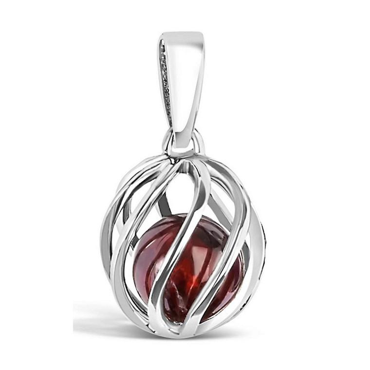 January Birthstone silver pendant - Garnet