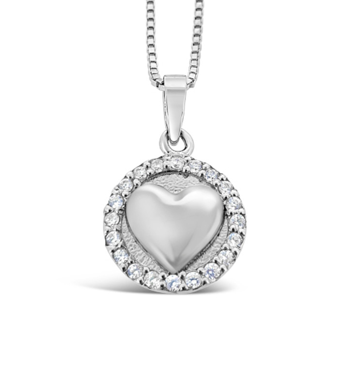 When you love – light shines on you! Sterling silver necklace with cubic zirconia.