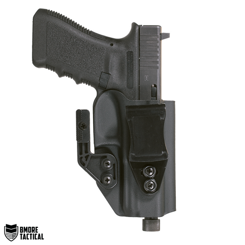 Outside-facing Side of the Glock 17/22/31 IWB Holster contains the belt clip and the mod wing for no compromise retention.