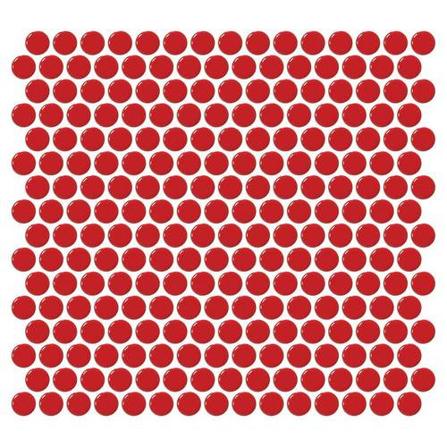 "Daltile Retro Rounds 1"" x 1"" Cherry Red Porcelain Mosaic"