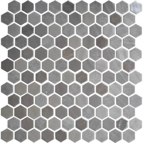 """Daltile Uptown Glass 1"""" Hex Frost Moka Hex Wall Mosaic"""